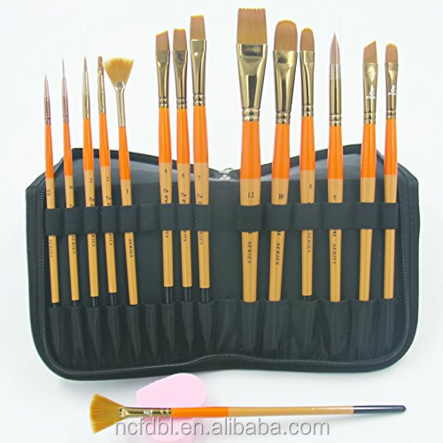 15Pcs Art Travel Paint Brushes Set for Children Oil Watercolor Acrylic Handle Artist Painting