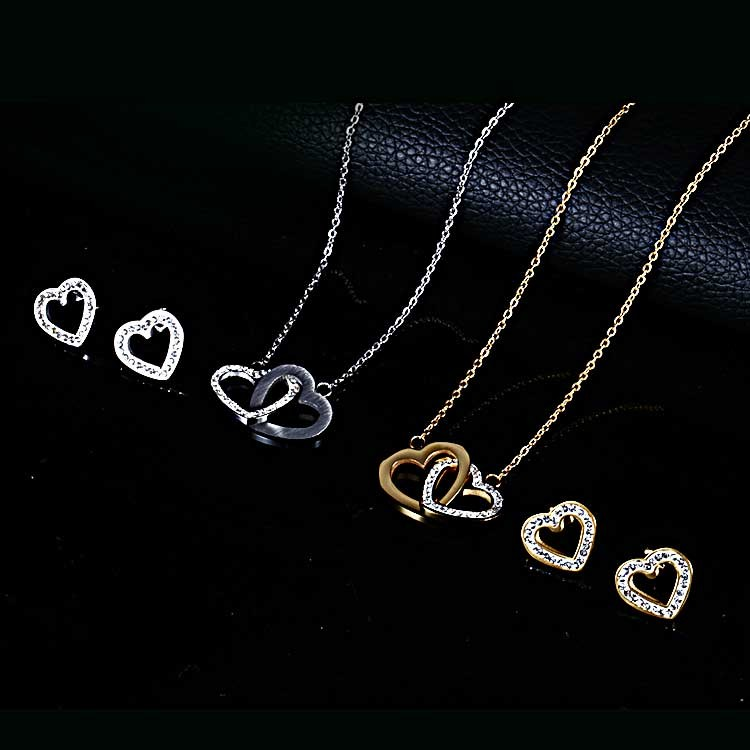 Best Selling Heart Shaped Stainless Steel Fashion Jewelry Set With Crystal