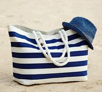 2014 Stripe cotton canvas beach Tote Bag