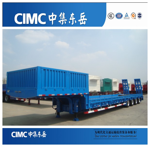 CIMC 60 tons 4 axles heavy duty low bed trailers/lowbed semi trailer