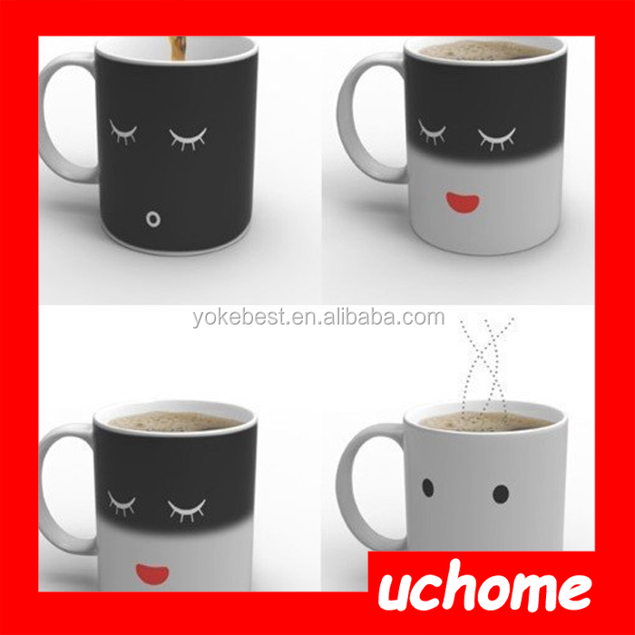 UCHOME Factory Wholesale Yellow Smile Face Wake Up Magic Mug/Monday Mug In Stock