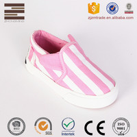 Lovely Sweet New Design Stripe Vulcanized Canvas Injection Girl Shoe With Ear