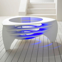 acrylic solid surface artificial stone white led office coffee table