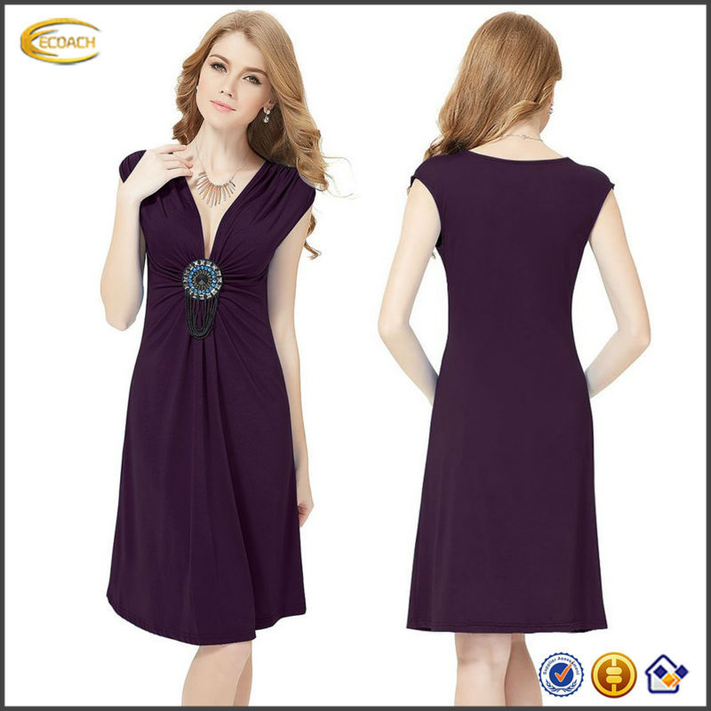 OEM 2015 Ornamental sexy plunging V-neck knee high Non-removable ornamental Exquisite Flirty Short Cocktail gaun dress designs