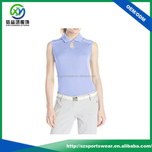 Single button-loop placket with key hole design sleeveless ladies golf Polo shirt