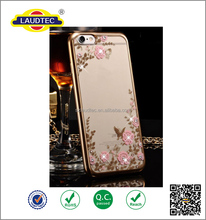 Diamond Flower Slim Gel Clear Back Case Cover for iphone 6/6S,bling crystal flower tpu case