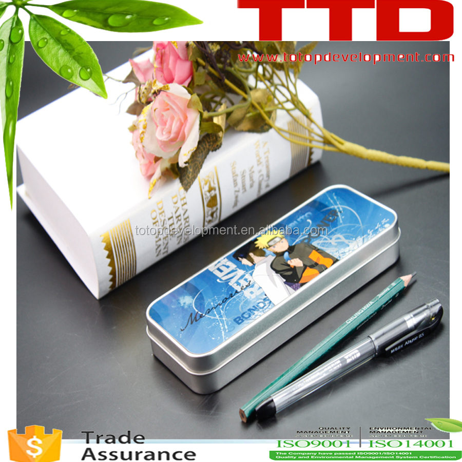 2D metal pencil tin boxes/ sublimation pencil case/ for wholesale ,sublimation Stationery box tin