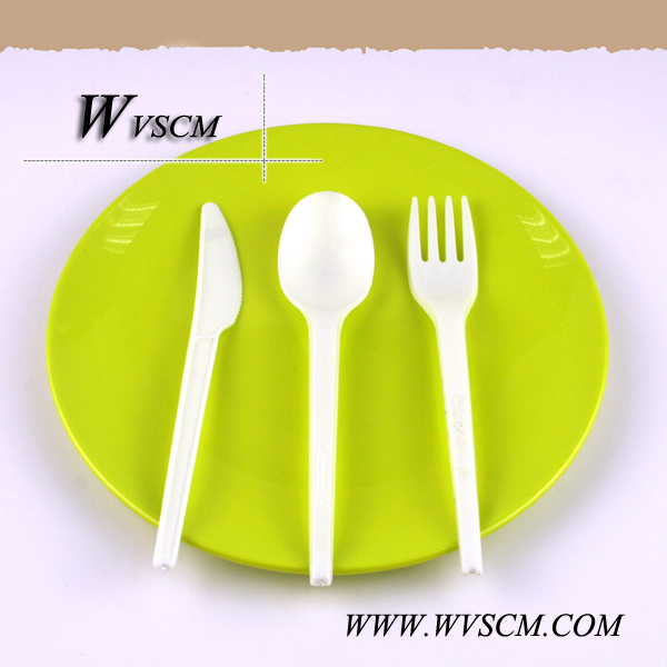 ECO compostable plastic sppon fork knife utensil disposable CPLA cutlery