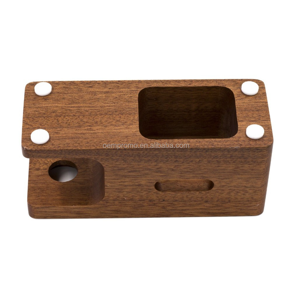 100% Natural Walnut Wood 2-in-1 Phone Charging Docking Stand Station Phone Display