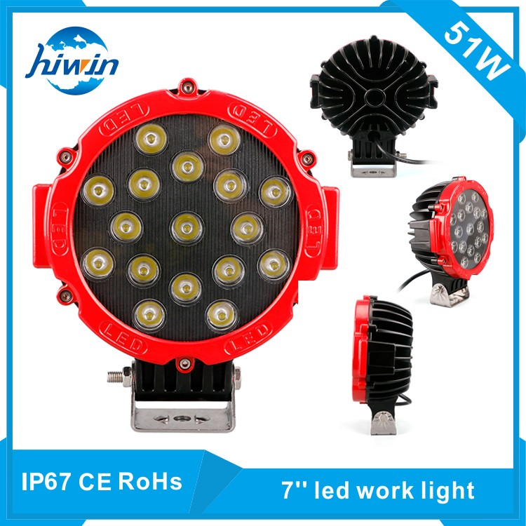hot sale black and red 51w 7 inch led work light for fog driving offroad suv