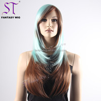 "Yiwu Wig Wholesaler Cheap 29"" Extra Long Silky Straight Wave Cyan Brown Colorful Party Plastic Wig For Women With Side Bang"