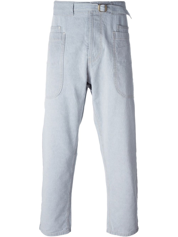 Plus size bleached blue brushed cotton balloon pants jean for men