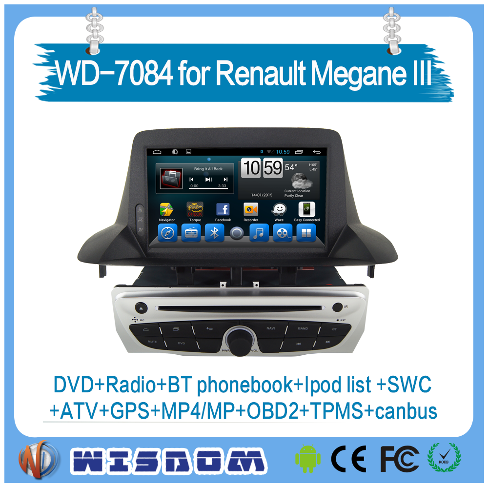 Car radio 2-din android gps for renault megane iii car multimedia audio video entertainment system 2 din mp3 players TPMS ipod