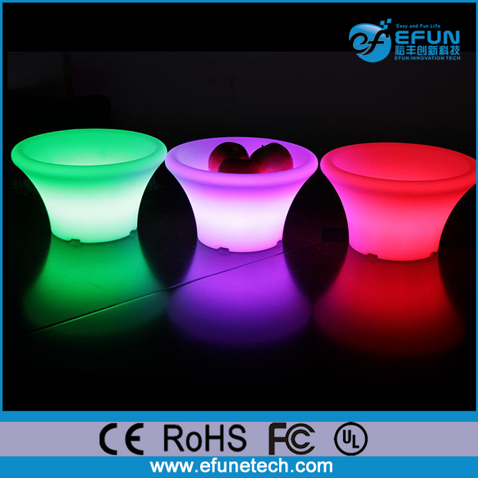 decorative parties and event illuminated fruit pot, rgb color changing led outdoor pot light