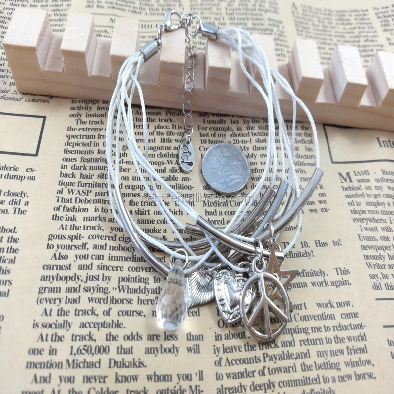 multi strand antique silver peace sign star heart charms wax cord bracelet assorted charms wax cord bracelet with curved tube