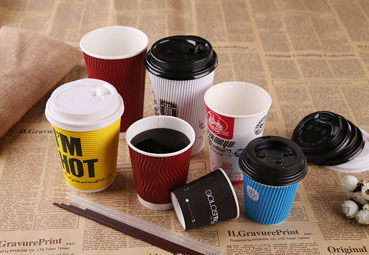 china supplier custom 400ml 12oz ripple wall paper cup with cover