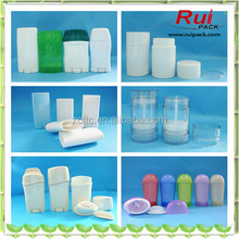 Empty round deodorant stick container,oval deodorant container deo stick, flat plastic twist up deodorant container