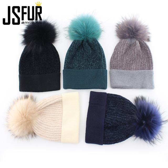 Wholesale Winter Women Pom Pom Knitted Hats Raccoon Fur Beanie Hat