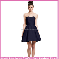 HC2158 Midi Dress Wholesale satin A-lin short cocktail dress for party European style zipper dark blue knee length party dress