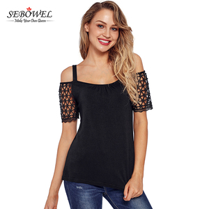 2018 Cheap Floral Crochet Cold Shoulder Girls Top