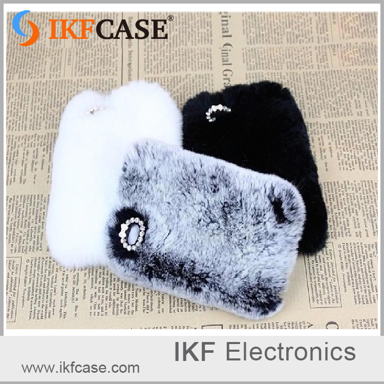 Top Quality imitation rabbit fur Mobile Phone Cover Hard PC Case for iphone5 5s