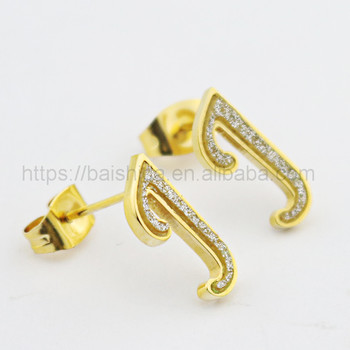 hip hop jewelry alphabet capital J stud earring high polished gold plating jewelry