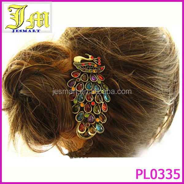Colorful Vintage Jewelry Crystal Peacock Hair Pin Clip Wholesale