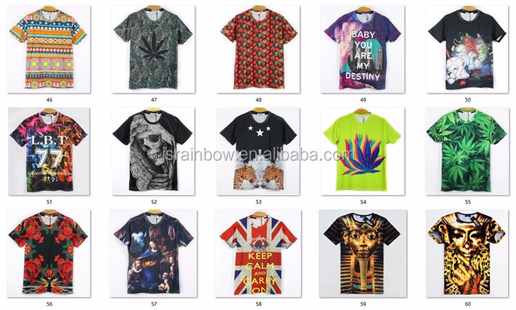 2017 custom print t-shirt cotton polyester Tshirt 3d sublimation printed men t shirt wholesale