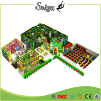Xiaofeixia Commercial Kids Green Forest And Pink Cartoon Style Indoor Playground With Trampoline Park Area