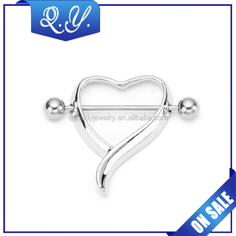 High quality fake stainless steel heart shaped nipple rings body piercing jewelry