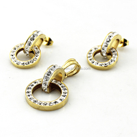 SS5011201 Wholesale Fashionable Women Wedding 18K Gold Jewelry with Shinning Stone Earrings Pendant Set