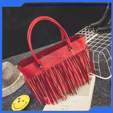 2016 Korean Big Size Lady Latest Brand Handbag Tassel Design PU Leather Tote Bag for Girls