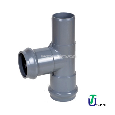 UPVC Two faucet and one insert regular tees M/F/F DIN PN10 (rubber ring)