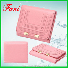 Fancy mini genuine human leather wallets with embroidery design for girls
