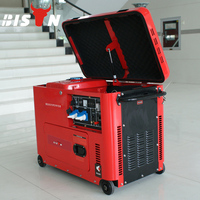 BISON CHINA TaiZhou Wholesale Air-Cooled 6.5kw Silent Type Diesel Portable Power Low Noise Generator