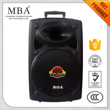 2016 Hot sale 15 inch cheap active plastic mobile trolley battery speaker with bluetooth and remote