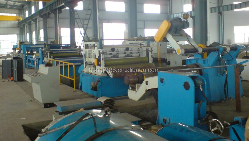 building metal stacking and leveling straighten cut to length machine line