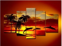 hand-painted oil wall art Sunrise beach dolphins home decoration abstract Landscape oil painting on canvas 5pcs/set mixorde