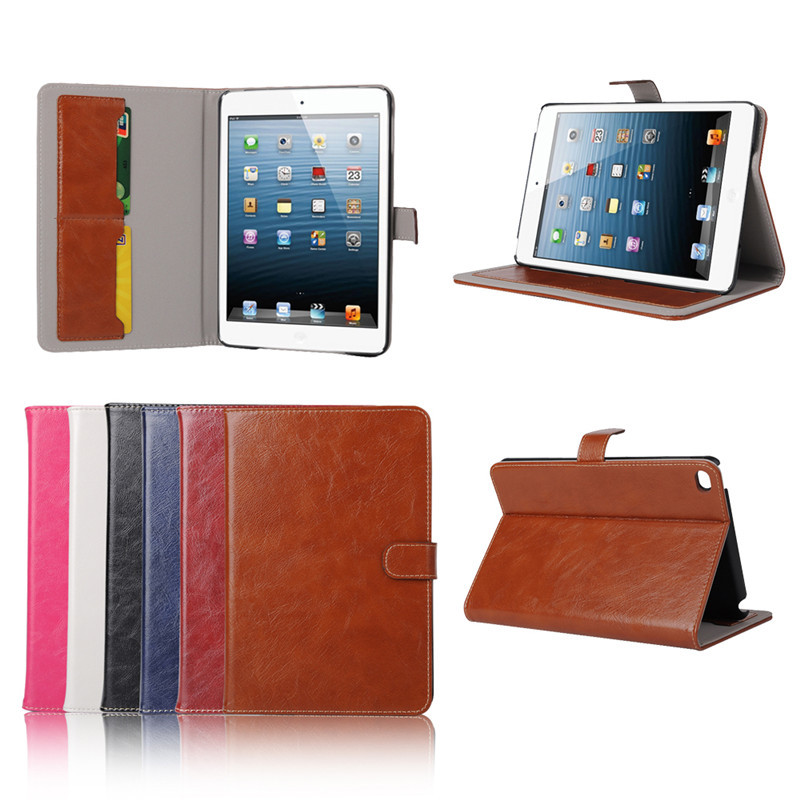 New Arrival, For iPad Mini 4 Case, Best Quality Crazy Horse PU Wallet Case for iPad Mini 4