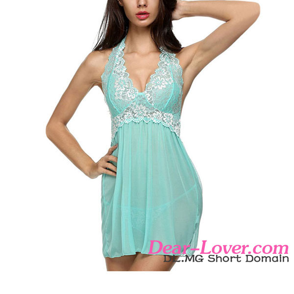 Sexy Lace Patchwork Halter Babydoll transparent nightwear for honeymoon