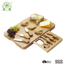 Handmade high quality bamboo cheese board set wholesale