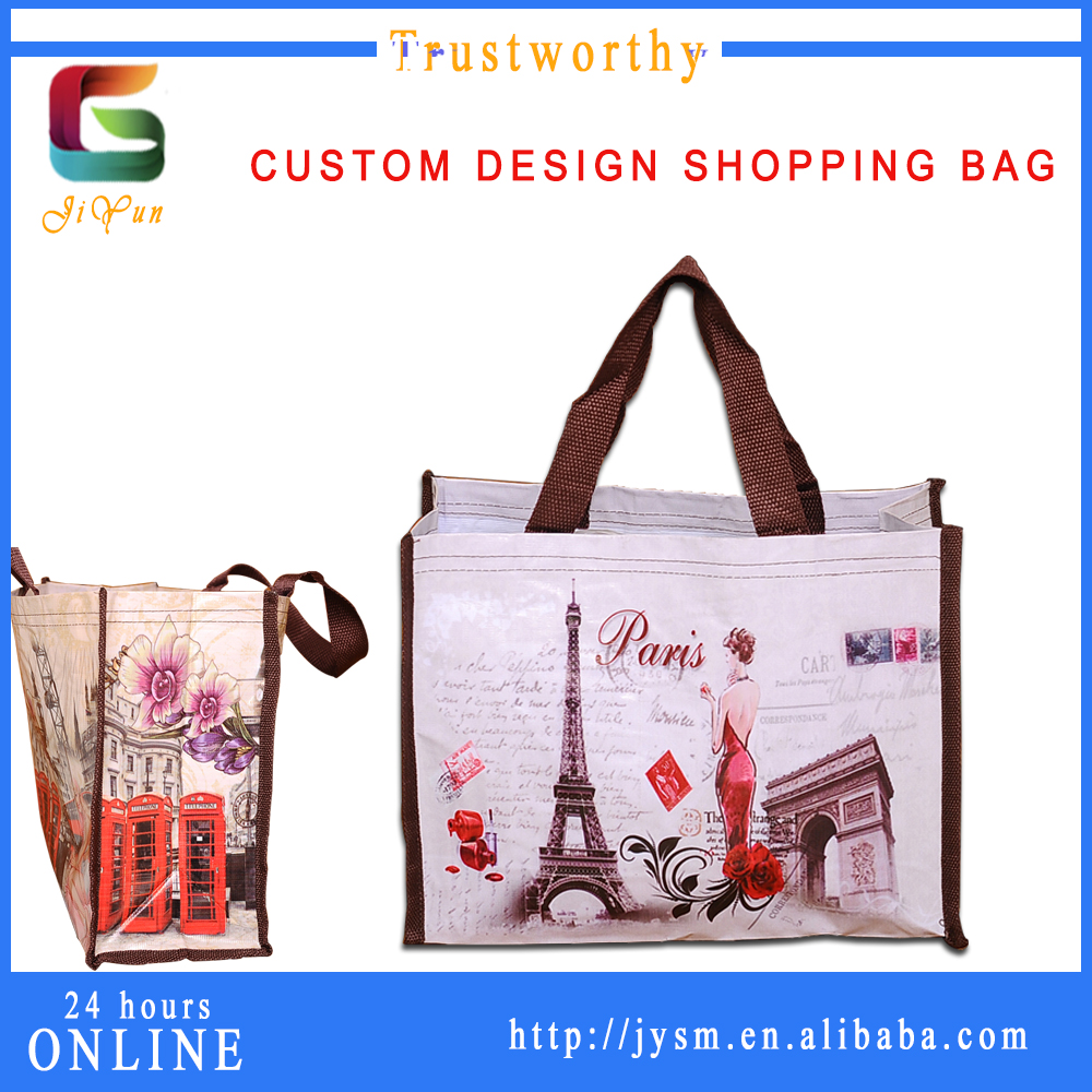 Wholesale Paris Design New Fashion High Quality Shopping Tote Bag Print Eiffel Tower Women Foldable PET Carrier Bag