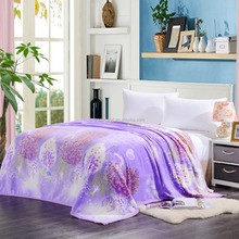 100% Polyester Printed Coral Fleece Blanket One Ply Adult Queen Size Plaid 200X230CM Bedspread Adult Throw Flannel Blankets