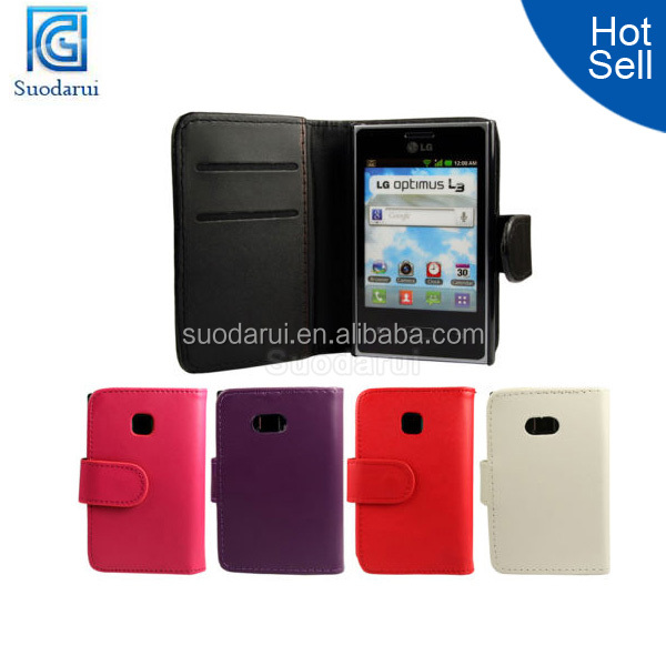 china manufacture wallet pu leather flip case for lg optimus l3 e400
