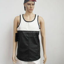 Two Tone Panelled Tank Top Black/White Plain Men's Tank Top Poly-Cotton Blank Round Bottom Tank Top with Side Zipper