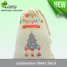 Sublimation blanks for Christmas Drawstring Gift Bags, Canvas Christmas Santa Sack