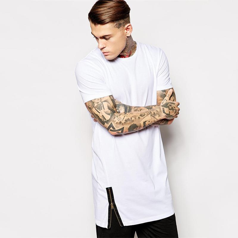 2015 Mens Plain White Tall Tee Shirt With Zip Detail Buy