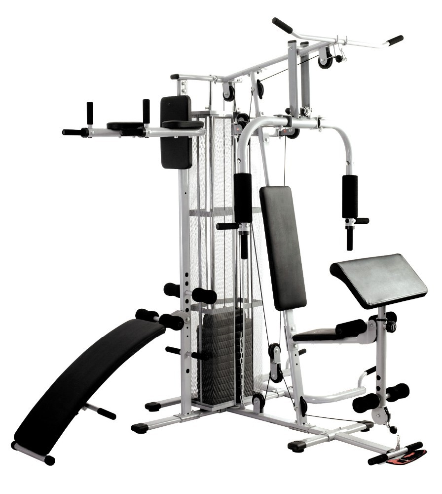 Multi-station Home Gym with Weight Stack 220LB Fitness Equipment Dumbbell Weight Bench