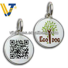 Round plastic dog id tag with qr code for pet product