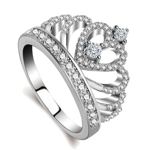 Sterling silver heart crown shaped custom ring with AAA CZ
